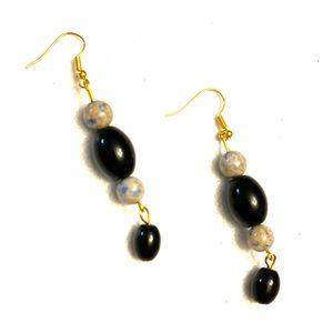 Earrings Pierced: Black crystal and gemstone